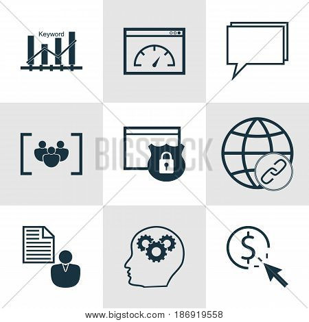 Set Of 9 Advertising Icons. Includes Loading Speed, Questionnaire, Security And Other Symbols. Beautiful Design Elements.