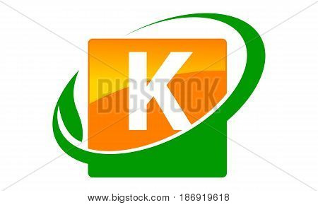 This image describe about Swoosh Leaf Letter K