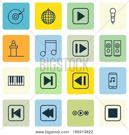 Set Of 16 Multimedia Icons. Includes Gramophone, Skip Song, Sound Box And Other Symbols. Beautiful Design Elements.
