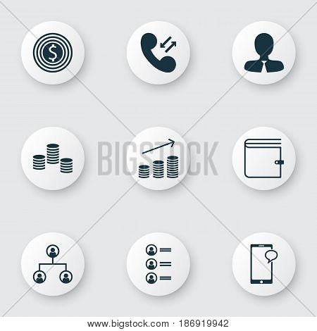 Set Of 9 Human Resources Icons. Includes Coins Growth, Money, Job Applicants And Other Symbols. Beautiful Design Elements.