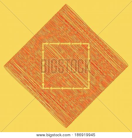 Arrow on a square shape. Vector. Red scribble icon obtained as a result of subtraction rhomb and path. Royal yellow background.