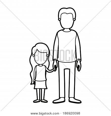 black thick contour caricature faceless full body youn man taken hand with little girl vector illustration