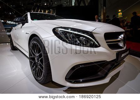 STUTTGART GERMANY - MARCH 03 2017: Compact luxury car Mercedes-AMG C63 S Coupe 2016. Black and white. Europe's greatest classic car exhibition