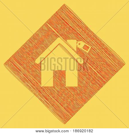 Home silhouette with tag. Vector. Red scribble icon obtained as a result of subtraction rhomb and path. Royal yellow background.