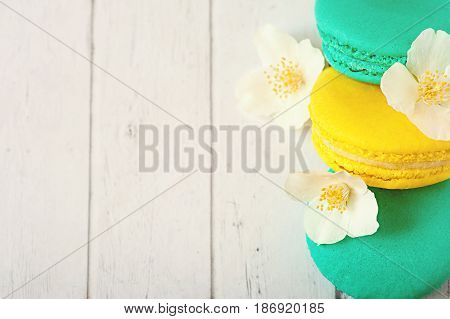 Different types of macaroons, french macaroons or macaron, Colorful macaroons