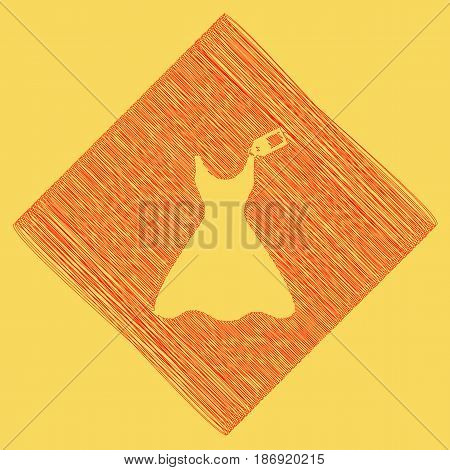 Woman dress sign with tag. Vector. Red scribble icon obtained as a result of subtraction rhomb and path. Royal yellow background.