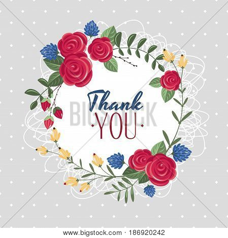 Thank you gift card with flower vector illustration