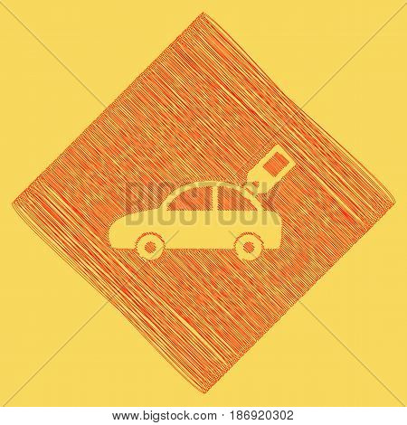 Car sign with tag. Vector. Red scribble icon obtained as a result of subtraction rhomb and path. Royal yellow background.