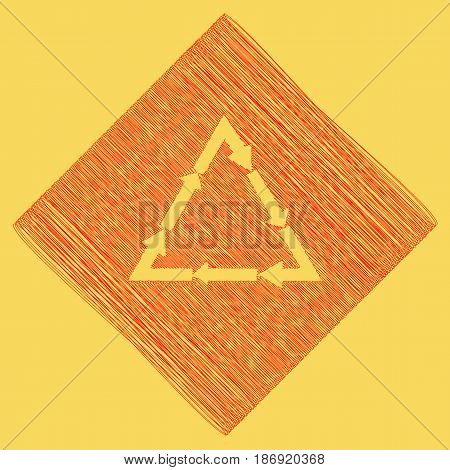 Plastic recycling symbol PVC 3 , Plastic recycling code PVC 3. Vector. Red scribble icon obtained as a result of subtraction rhomb and path. Royal yellow background.