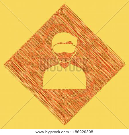 Man with sleeping mask sign. Vector. Red scribble icon obtained as a result of subtraction rhomb and path. Royal yellow background.