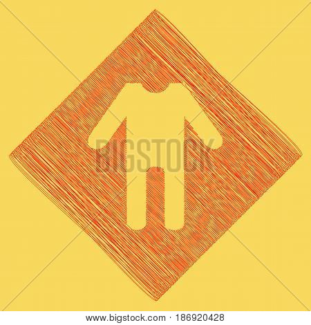 baby clothes sign. Vector. Red scribble icon obtained as a result of subtraction rhomb and path. Royal yellow background.