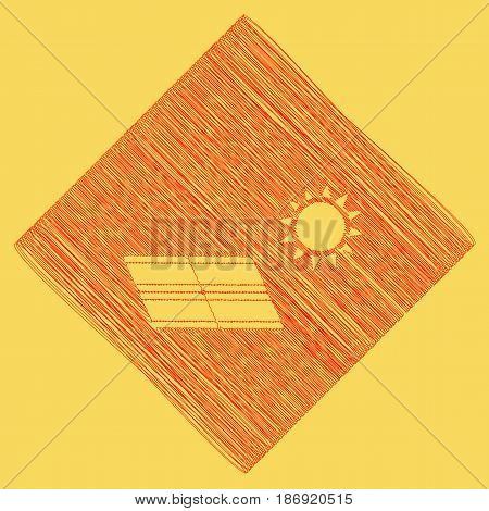 Solar energy panel. Eco trend concept sign. Vector. Red scribble icon obtained as a result of subtraction rhomb and path. Royal yellow background.