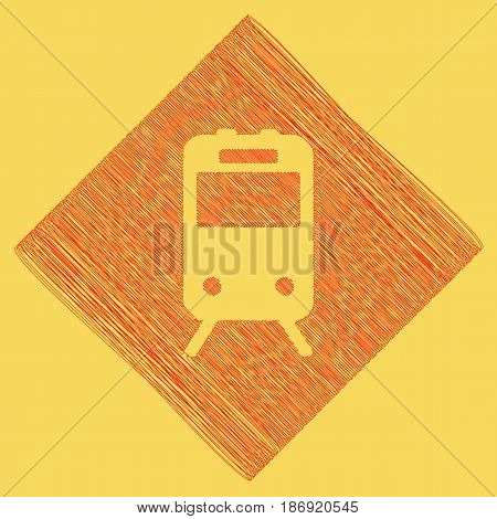 Train sign. Vector. Red scribble icon obtained as a result of subtraction rhomb and path. Royal yellow background.