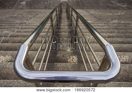 Railing And Stairs With Handrails Chromium Stainless Steel.