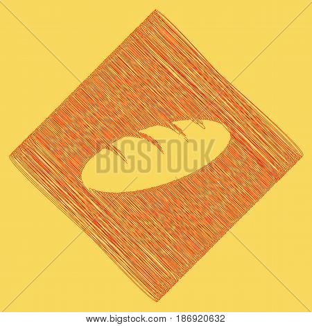 Bread sign. Vector. Red scribble icon obtained as a result of subtraction rhomb and path. Royal yellow background.