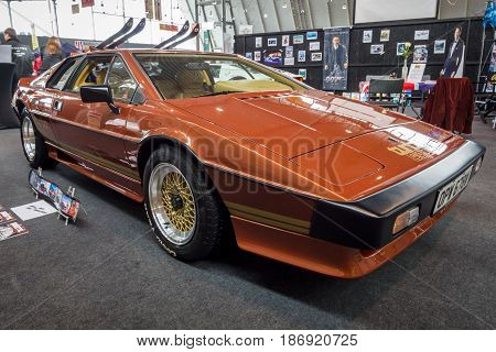STUTTGART GERMANY - MARCH 03 2017: Sports car Lotus Turbo Esprit 1981. From the film about James Bond