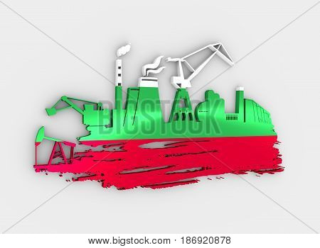 Energy and Power icons set and grunge brush stroke. Energy generation and heavy industry relative image. Flag of the Bulgaria. 3D rendering