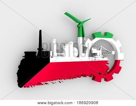 Energy and Power icons set and grunge brush stroke. Energy generation and heavy industry relative image. Flag of the Kuwait. 3D rendering