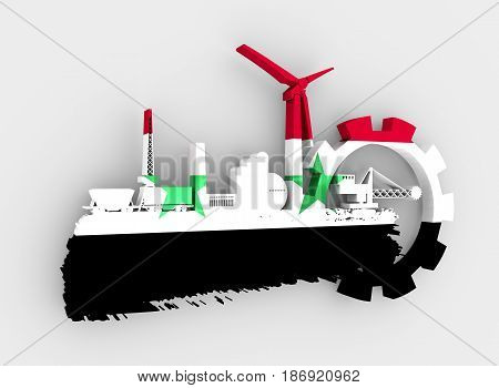 Energy and Power icons set and grunge brush stroke. Energy generation and heavy industry relative image. Flag of the Syria. 3D rendering