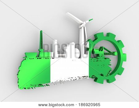 Energy and Power icons set and grunge brush stroke. Energy generation and heavy industry relative image. Flag of the Nigeria. 3D rendering