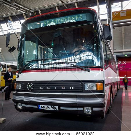 STUTTGART GERMANY - MARCH 03 2017: Articulated bus Setra SG 219 SL 1987. Europe's greatest classic car exhibition