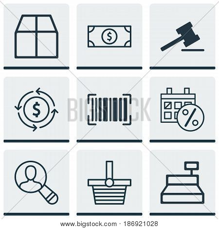 Set Of 9 E-Commerce Icons. Includes Buck, Till, Cardboard And Other Symbols. Beautiful Design Elements.