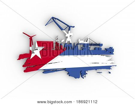 Energy and Power icons set and grunge brush stroke. Energy generation and heavy industry relative image. Flag of the Cuba. 3D rendering