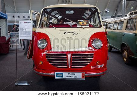 STUTTGART GERMANY - MARCH 03 2017: Luxury minibus Goliath Express 1100 1958. Europe's greatest classic car exhibition