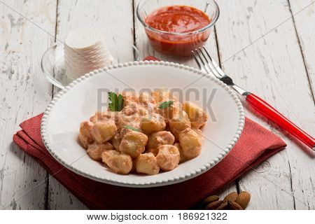 homemade gnocchi with tomato sauce and ricotta
