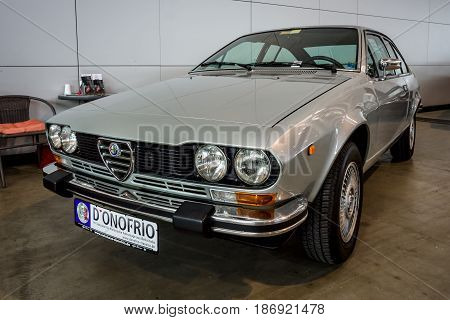 STUTTGART GERMANY - MARCH 03 2017: Executive car Alfa Romeo Alfetta GTV 2000 (Type 116) 1978. Europe's greatest classic car exhibition