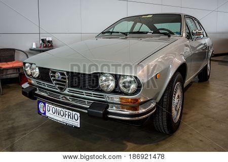 STUTTGART GERMANY - MARCH 03 2017: Executive car Alfa Romeo Alfetta GTV 2000 (Type 116) 1978. Europe's greatest classic car exhibition