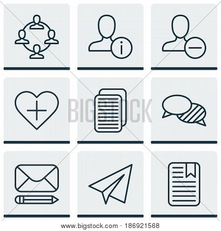 Set Of 9 Social Icons. Includes Note Page, Edit Mail, Startup And Other Symbols. Beautiful Design Elements.