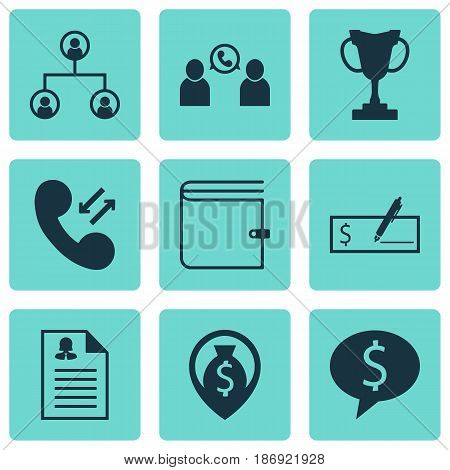 Set Of 9 Hr Icons. Includes Bank Payment, Money Navigation, Female Application And Other Symbols. Beautiful Design Elements.