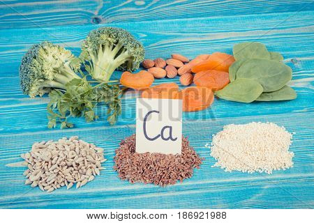Vintage Photo, Ingredients Containing Calcium And Dietary Fiber, Concept Of Healthy Nutrition