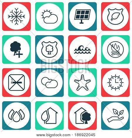 Set Of 16 Eco Icons. Includes Cigarette, Sun Power, Timber And Other Symbols. Beautiful Design Elements.