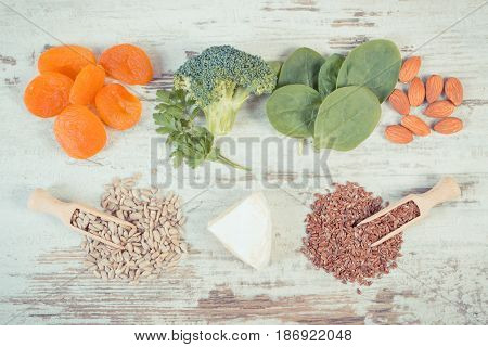 Vintage Photo, Ingredients Containing Calcium And Dietary Fiber, Healthy Nutrition Concept