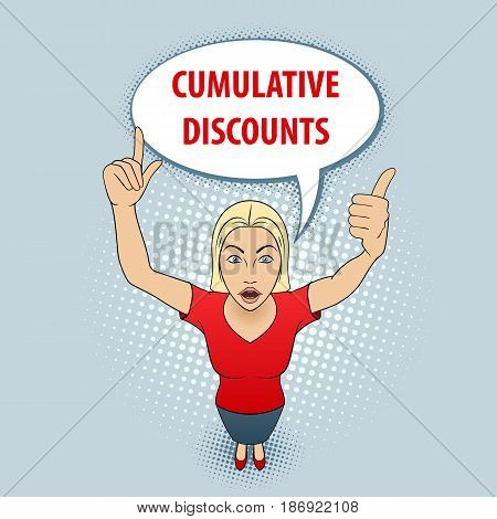 Illustration of a Woman in Red Blouse Pointing Her Fingers Up. Cumulative Discount.