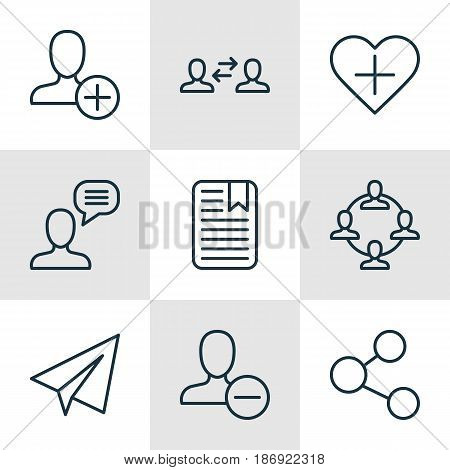 Set Of 9 Communication Icons. Includes Startup, Publication, Favorite Person And Other Symbols. Beautiful Design Elements.