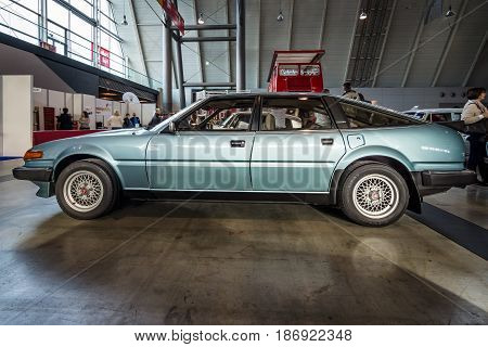 STUTTGART GERMANY - MARCH 03 2017: Executive car Rover SD1 3500 V8 Vitesse 1985. Europe's greatest classic car exhibition