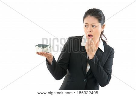 Shocked House Agent With Her Mouth Opened