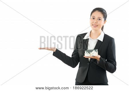 Enthusiastic Young Girl Holding House