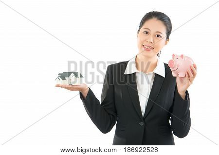 Smiling Office Lady Know How To Save Money
