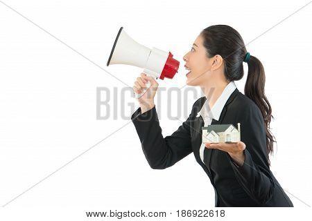 House Company Agent Holding Big Megaphone