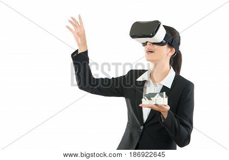 Young Woman Manager On Vr Headset Device