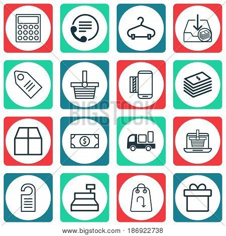 Set Of 16 Ecommerce Icons. Includes Mobile Service, Ticket, Till And Other Symbols. Beautiful Design Elements.