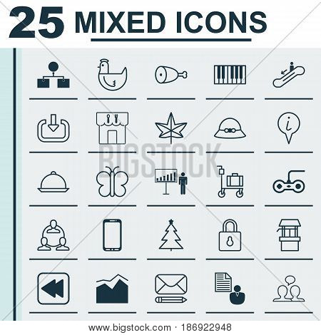 Set Of 25 Universal Editable Icons. Can Be Used For Web, Mobile And App Design. Includes Elements Such As Rewind Back, Smartphone, Project Presentation And More.