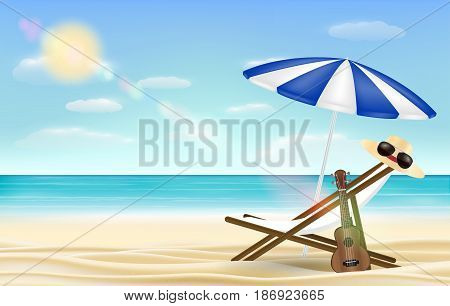 relax beach chair umbrella with sea beach background