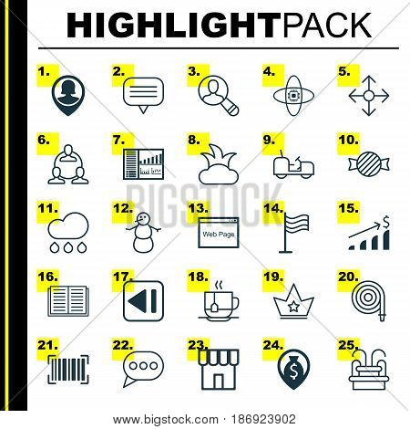 Set Of 25 Universal Editable Icons. Can Be Used For Web, Mobile And App Design. Includes Elements Such As Direction Arrows, Opened Book, Identification Code And More.