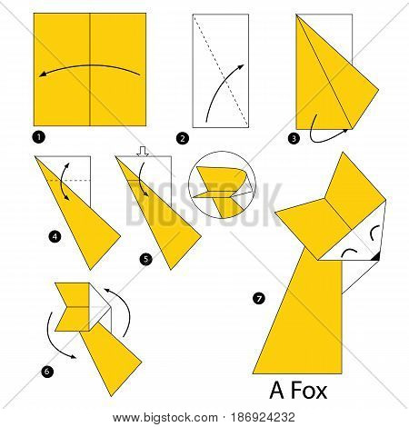 step by step instructions how to make origami a Dog.