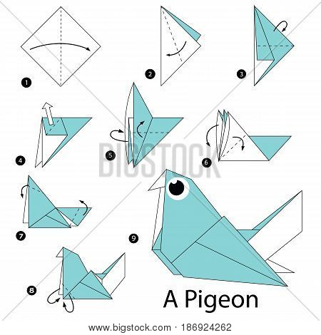 step by step instructions how to make origami a Pigeon.